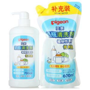 PIGEON贝亲奶瓶PL156清洗剂补充套装700ml+600ml*2件    79.54元(合39.77元/件)