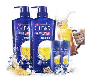 清扬(CLEAR)男士去屑洗发水套装啤酒酷爽型720gx2送啤酒酷爽型洗发露100gx2KPL(氨基酸洗发)*2件 159.83元(合79.92元/件)