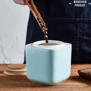 佳佰 900ml陶瓷茶叶罐 遮光防潮防氧化密封罐 厨房五谷杂粮零食调料收纳储物罐 方型17元