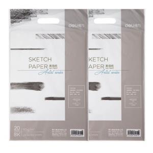 得力8K美术素描纸彩铅绘画用画画纸4K专用水粉纸八开四开20张/包手绘绘画纸两包价买4包送10支铅笔 9元