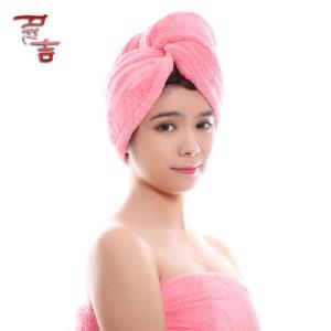 多吉555555强吸水印花干发帽粉色格子7.9元