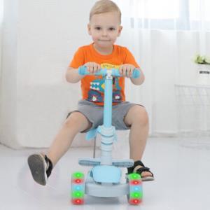 炫梦奇儿童滑板车三合一可坐滑板车2-6岁宝宝三轮摇摆滑滑车小孩闪光轮踏板车蓝色*3件 404元(合134.67元/件)