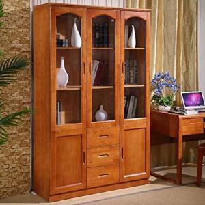 鹿枫 现代中式系列实木书柜  三门书柜 海棠色 2088元