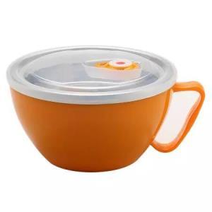 美厨(maxcook)304不锈钢泡面碗 学生饭盒餐杯泡面杯900ML 带盖防漏双层隔热 橙色 MCWA-070
