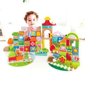 Hape积木儿童玩具80粒花园木质拼搭桶装积木用券89元+2元白条券,87元到手87元
