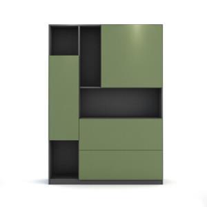 优主意 书柜储物柜 客厅半开放创意展示柜 可免费定制尺寸 �\橡豆绿(款式一) 1210mm*1650mm*350mm 1929.5元