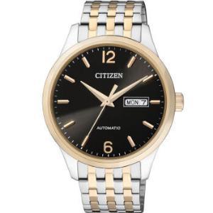 西铁城手表 时尚自动机械间金色黑盘双日历钢带男表NH7504-52EB2070元