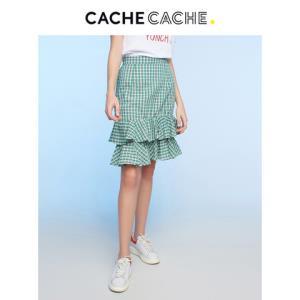 CacheCache 春新款学院风经典格纹裙子小清新休闲荷叶边包臀半身裙59.9元