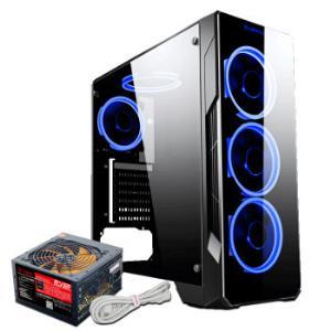 BUBALUS 大水牛 幻月黑色机箱+宽V400电源套装 额定300W 支持ATX/USB3.0/电源下置/玻璃面板/侧透 199元