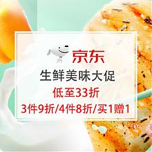 京东商城生鲜大促,低至33折    买一赠一,叠加满199减20券
