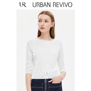 UR2018夏季新品女装修身中袖纽扣开襟休闲针织外套WG18R9DN200159元