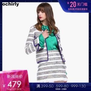 ochirly欧时力春装撞色条纹长袖针织外套女1GY1030390 479元