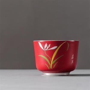 陶瓷茶杯内镶银功夫茶杯大容量主人杯创意扒花个人杯四季杯鎏银品杯 红釉春兰C-AG-9-3 99元