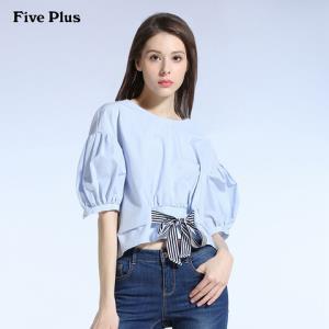 Five Plus新款女夏装短袖衬衫女宽松蝴蝶结泡泡袖衬衣潮纯棉圆领 149元