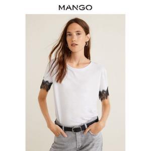MANGO女装2019春夏柔软休闲圆领蕾丝短袖T恤43020542 79元