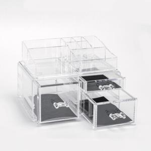 富居 抽屉式透明化妆盒收纳盒首饰办公桌面亚克力多功能整理盒 组合装可分离 *2件 149.8元(合74.9元/件)