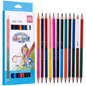 得力(deli)24色纸盒双头彩色铅笔易上色填色笔三角杆彩铅12支/盒6595 3.75元