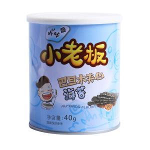 小老板休闲零食小吃巴旦木夹心海苔海味即食海苔40g/罐 9.9元