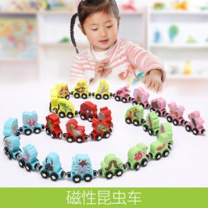 木丸子儿童早教玩具26个数字字母小火车磁性无轨木制玩具 26个磁性昆虫车 53元