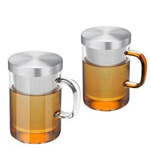 高硼硅耐热不锈钢内胆玻璃杯 2只装 49元