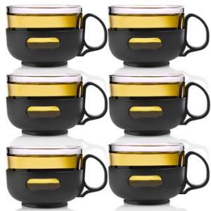 唯成 150ml泡花草茶玻璃杯套装 创意耐热玻璃透明隔热防烫紫兰茶杯 (6只装)BLB009 *5件 101.5元(合20.3元/件)