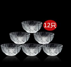 吉祥客 透明玻璃碗 凤尾碗350ML 6只(买一送一) *2件    29.9元包邮(需用券,合14.95元/件)
