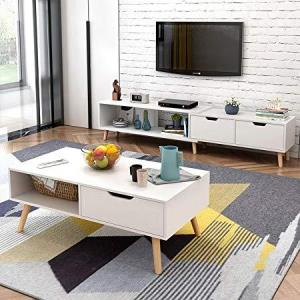 简约现代电视柜茶几组合北欧小户型地柜迷你家具伸缩电视机柜 (暖白色(电视柜 茶几组合)) 539元