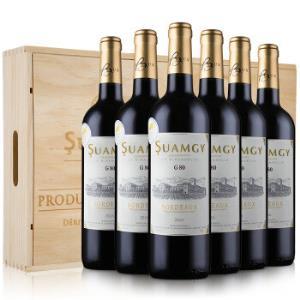 法国原瓶进口红酒圣芝(Suamgy)法国G80波尔多AOC干红葡萄酒整箱木箱礼盒装750ml*6*2件746元(合373元/件)