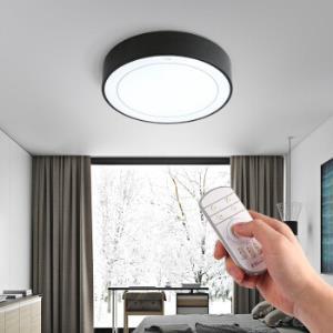 佛山照明(FSL)遥控吸顶灯led卧室灯书房客厅灯简欧圆形灯无极调光18W黑色50151