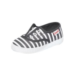 Cienta 黑白条纹装饰鞋带孔套脚帆布儿童单鞋休闲鞋 24-30码 2-6岁79.5元(需用券)