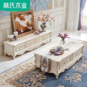 林氏木业客厅仿大理石电视柜茶几组合套装欧式现代简约家具KN620H1599元