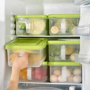 百露冰箱收纳盒抽屉式冷冻整理盒储物盒分类密封保鲜盒厨房塑料用盒子 绿色2个装 *3件 63.5元(需用券,合21.17元/件)