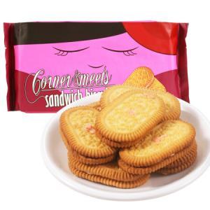 印尼进口 卡乐米斯 Corner Meets 夹心饼干 休闲零食 草莓味 300g/袋 *2件26.88元(合13.44元/件)