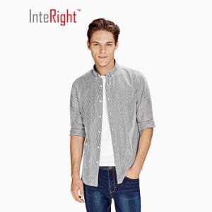INTERIGHT衬衫男男士磨毛竖条纹棉质衬衫灰白条39*2件119元(合59.5元/件)