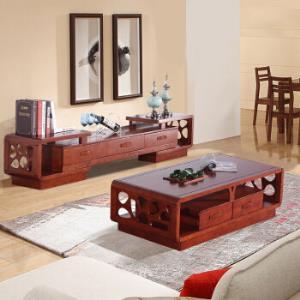 木巴家具 现代新中式茶几电视柜组合橡胶木实木茶几电视柜套装 客厅家具 海棠色1.2米CJ192 小DSG189 *2件4588.3元(合2294.15元/件)