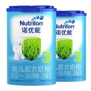 诺优能(Nutrilon) 幼儿配方奶粉(12―36月龄,3段)800g*2罐276元