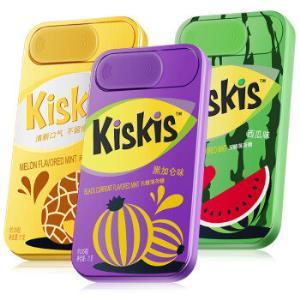 酷滋Kiskis无糖薄荷糖网红休闲零食(清爽海盐味、葡萄味、西瓜薄荷味组合装)21g*3盒*7件 123.3元(合17.61元/件)