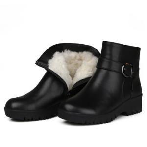 Mo eRa 妈妈鞋老人棉鞋冬季头层牛皮羊毛皮毛一体防滑平根短靴女大码中老年人棉鞋 黑色 35238元包邮(需用券)