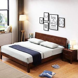 鹿枫 北欧现代简约橡木床全实木床LFMC13 (胡桃色, 1.2米不含床垫) 1580元