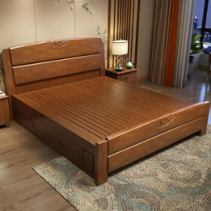 初屋  实木床 现代中式橡胶木婚床 胡桃色(1500mm*2000mm) 1149.05元