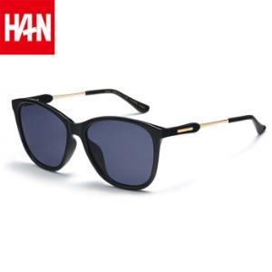 汉(HAN)防紫外线墨镜男方脸简约时尚个性高清偏光驾驶太阳镜 51006 黑框灰片 69元