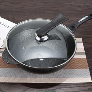 韩式麦饭石涂层炒锅不粘锅30cm(送锅盖和硅胶铲) 86元