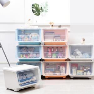 百露收纳箱塑料加大号透明衣服被子玩具储存整理箱带盖家用储物箱 大号斜口箱 *3件 89.49元(合29.83元/件)