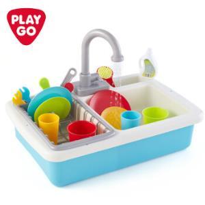 playgo贝乐高水槽玩具仿真过家家儿童厨房玩具迷你厨房儿童玩具洗碗小水池 3600 87.5元