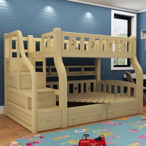 莱客轩LAIKEXUAN儿童上下床双层实木高低床母子床松木简约上下铺上铺130下铺150总长245梯柜床2908元