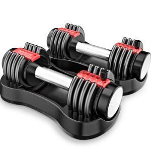 双超(suncao)SC-YL03黑红色快速调节哑铃可拆卸男女士杠铃亚玲套装家用运动健身器材11KG(5.6KG*2只)229元