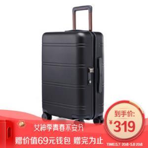 90分行李箱商务PC旅行箱男女静音万向轮拉杆箱尼罗河20英寸登机箱黑色    299元