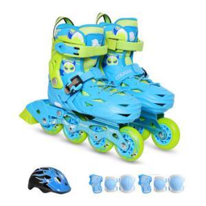 美洲狮(COUGAR)儿童套装轮滑鞋平花休闲两用溜冰鞋MZS303天空蓝M码+凑单品150.7元