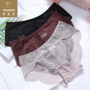 纤丝鸟女士内裤女包臀性感法式蕾丝透明女式内裤三角裤3条装黑色-暗色-咖啡均码*3件92.4元(合30.8元/件)