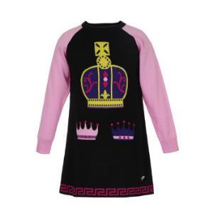 YOUNGVERSACE范思哲奢侈品童装女童拼色羊毛针织皇冠图案连衣裙YVFAB417YFL33Y45126A/6岁/120cm 2745元